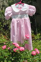 ドレスベビードレススモッキングドレス刺しゅうスモッキングドレスブリオンフラワー90ピンクストライプ選...