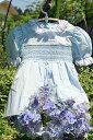 ドレスベビードレススモッキングドレス刺しゅうスモッキングドレスレオノール90ブルー選んで!!無料ギフトラッピング