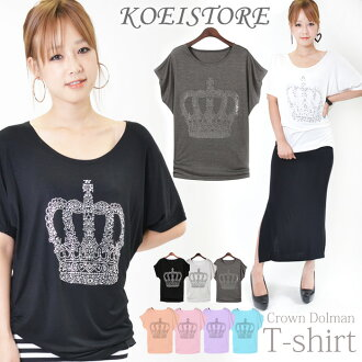 Dolman Crown pattern ドルマンルーズ rhinestone Crown 78% off tee shirt loose glitter casual clothes tops Dolman T shirt short sleeve shirt