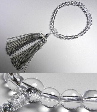女性用のお数珠水晶8mm玉共仕立て花かがり房