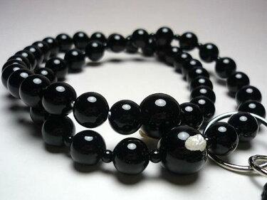 男性用のお数珠ブラックオニキス共仕立て浄土宗黒房