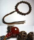 男性用のお数珠 羅漢彫り 瑪瑙仕立て