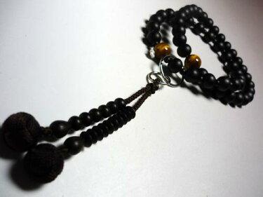 男性用のお数珠縞黒檀浄土宗虎目石仕立て