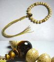 男性用のお数珠海南島星月菩提樹平玉24玉虎目石みかん玉仕立て紐房