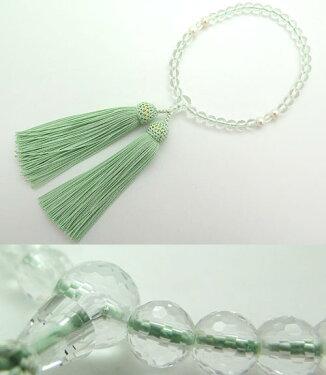 女性用のお数珠水晶108面カット淡水真珠4点仕立て青磁房