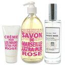 【送料無料】カンパニードプロバンス Compagnie de Provence ローズの香り マルセイユリキッドソープ300ml・ハンドクリーム30ml・ルームスプレー90mlの3点セット オーガニック