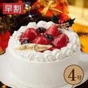 【クリスマス 苺と木の実のショートケーキ 4号(直径12cm...