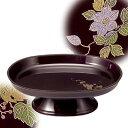 小判型供物台(供物皿) 色:タメ 柄:蒔絵 鉄仙/葡萄6.0寸(奥行12.7cm×幅18.0cm×高さ6.5cm) .