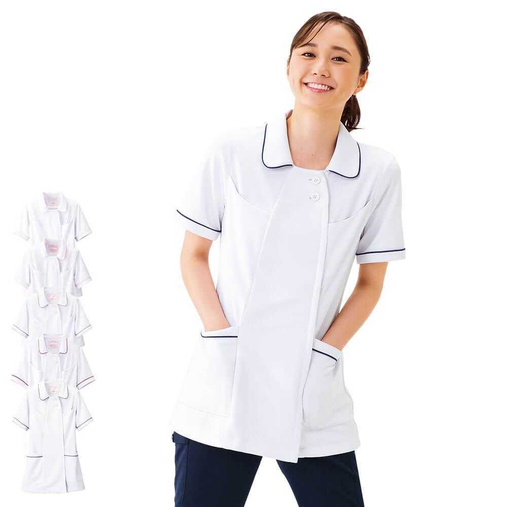 2277 オープンカラーパイピングジャケット(S〜3L)【医療 ナース 看護師 白衣 女性】