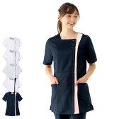 2345 スクエアカラーチュニックジャケット【医療 ナース 看護 白衣 女性】
