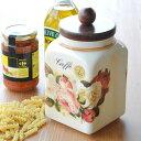 Made in ITALY コーヒーキャニスター 保存容器 陶器製 ローズ柄 保存びん キャンディポット