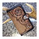 ATW_Mobile Case /モバイル・スマホケース ≪ 極厚ハーマンオークレザー×西陣織 ≫ シェリダンスタイル専門のカービング職人が手掛ける、セミオーダー品。革マニアによる、革マニアのための逸品。スマホケース 革モバイルケース 職人手作り
