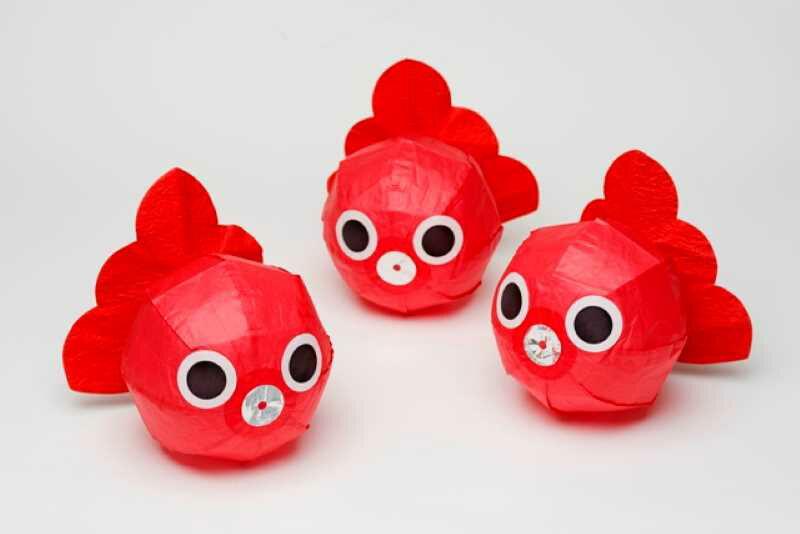 金魚ねぶたの紙風船紙風船金魚ねぶたおもちゃ玩具かわいい楽しい和雑貨日本製お祭り縁日子ども伝統玩具民芸