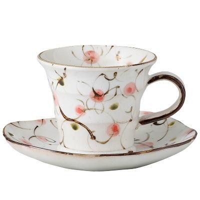 コーヒーカップソーサーセット美濃焼日本製粉引きピンク花唐草コーヒー碗皿(手造り)陶器/瀬戸物/和食器