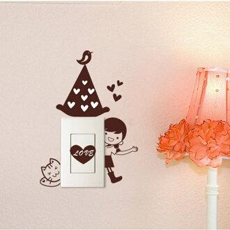"""易的壁貼紙和剝離 < 切換密封的女孩和一隻貓""""。"""