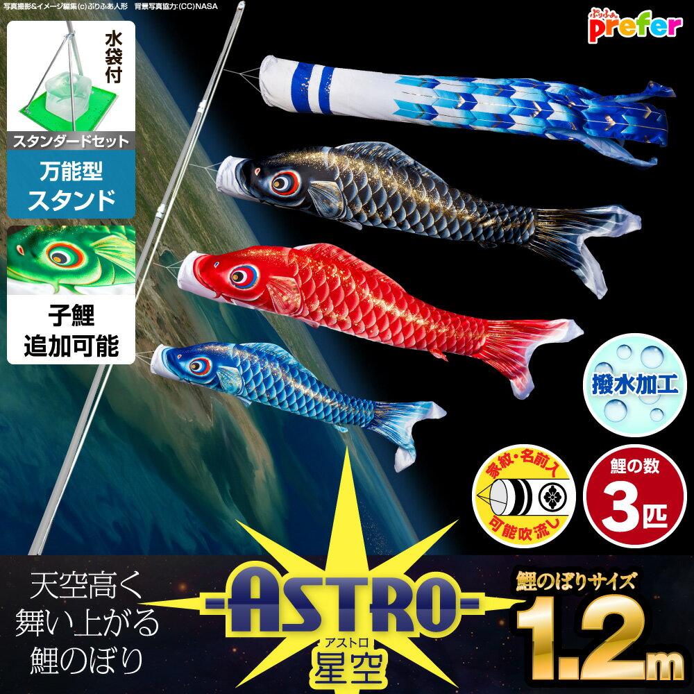 マンションやベランダに最適な1.2m小型 こいのぼり「天空高く舞う -ASTRO-星空鯉 …...:komari:10011354