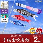 ベランダ用 こいのぼり 鯉のぼり フジサン鯉 手描金吹雪鯉 2m 6点(吹流し+鯉3匹+矢車+ロープ)/スタンダードセット(万能取付金具)