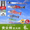 【庭園用 こいのぼり】 鯉のぼり フジサン鯉 黄金鯉金太郎 6m 8点セット(吹流し+鯉5匹+矢車+ロープ) 庭園 大型セット 【ポール 別売】