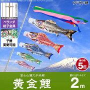 ベランダ用 こいのぼり 鯉のぼり フジサン鯉 黄金鯉 2m 8点(吹流し+鯉5匹+矢車+ロープ)/スタンダードセット(格子金具)