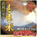 【新入荷】武蔵の里米 もち米 玄米25kg(精米無料)(農家直米)(送料無料 但し北海