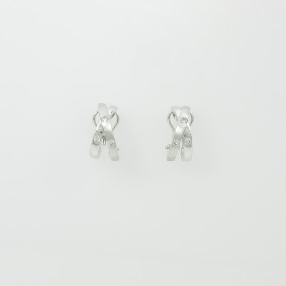 PT/K18WG ダイヤモンドピアスイヤリング【】
