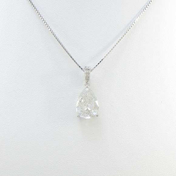 K18WG ダイヤモンドネックレス 4.523ct・H・I1・ペアシェイプ【中古】