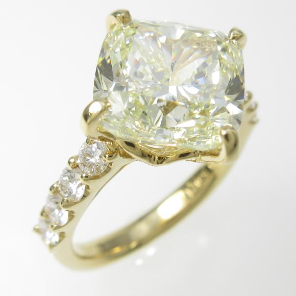 K18YG ダイヤモンドリング 5.021ct・LY・SI2・クッションカット【中古】