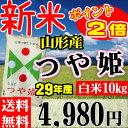 新米 山形県産 つや姫 29年産 10kg(5kgX2個)【正規取扱店】【特別栽培米】【特A/1等米