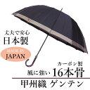 傘 メンズ「甲州織ゲンテン」日本製 長傘<65cm16本骨> 雨傘 骨が多い 風に強い 大きい 丈夫 耐風 ボーダー 濡れない 大判
