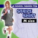 TEENS EVER 11AW ストライプシャツ(ブルー)Mサイズ スクールシャツ ブラウス 女子 レディース ピンストライプ 縞 長袖 制服シャツ 高校生 中学生 学校 かわいい クリアストーン 4560320837480