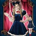 HW ANTIQUE DOLLS エリーゼブルー ハロウィン コスプレ コスチューム 衣装 仮装 変装 レディースサイズ クリアストーン 4...