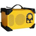 【あす楽】防塵防滴現場ラジオ AM/FM 耐衝撃 大型スピーカー ハンドル 持ち運び 便利 防災 アウトドア イエロー WINTECH GBR-3D