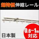 【即納/あす楽】 カーテンレール 伸縮 ダブル 取り付け簡単♪ 伸縮カーテンレール ダブルタイプ 0.6〜1.0m 日本製