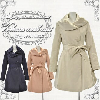 Women's coats chambray material volume neck coat size / 38 (size M), 40 (L size) color beige / pink / Navy