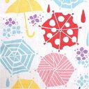 気音間てぬぐい「雨降り」傘をさして、紫陽花観賞