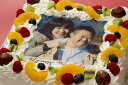 写真ケーキ(四角) 7号生クリーム 21×21cm 【誕生日ケーキ/バースデイケーキ/バースデーケーキ/記念日/結婚式/写真】