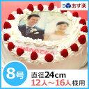 写真ケーキ(丸) 8号 生クリーム 【冷凍 到着後は冷蔵庫で...
