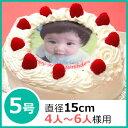 写真ケーキ(丸) 5号 生クリーム【冷凍 到着後は冷蔵庫で3...
