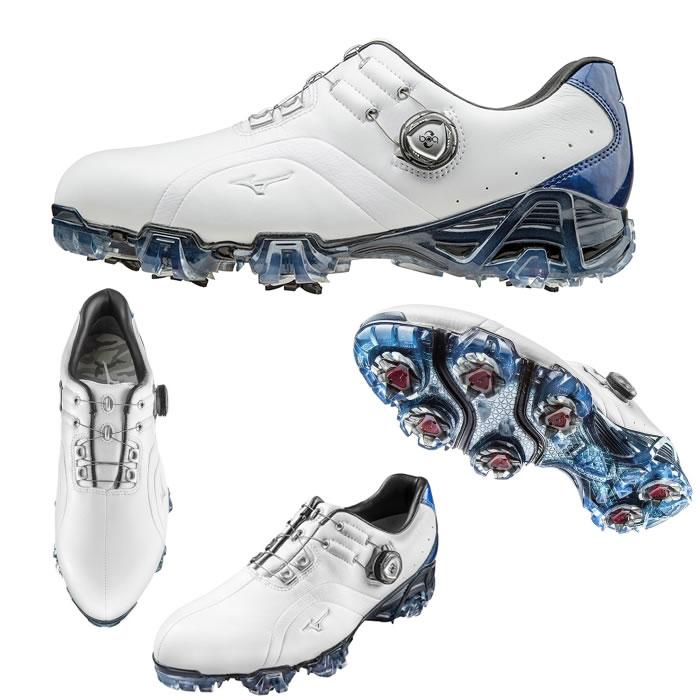 ●ミズノ ゴルフシューズ【メンズ】GENEM/ジェネム 006 ボア 22:ホワイト×ブルー