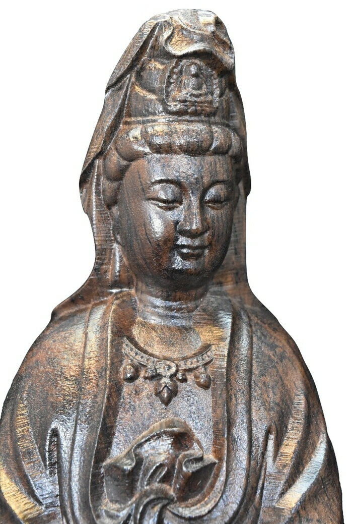 大きな観音様 仏像 (木製 約40cm 1.6kg)  送料無料!観音菩薩像 木彫