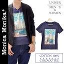 【期間 数量限定 在庫処分 SALE セール】Tシャツ Vネック 半袖 綿 コットン100 メンズ シカゴ TシャツVネック レディース 大きいサイズ 男女兼用 切りっぱなし プレゼント ギフト