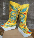 武侠ブーツ 高級厚底皇帝靴(宮廷靴)黄色