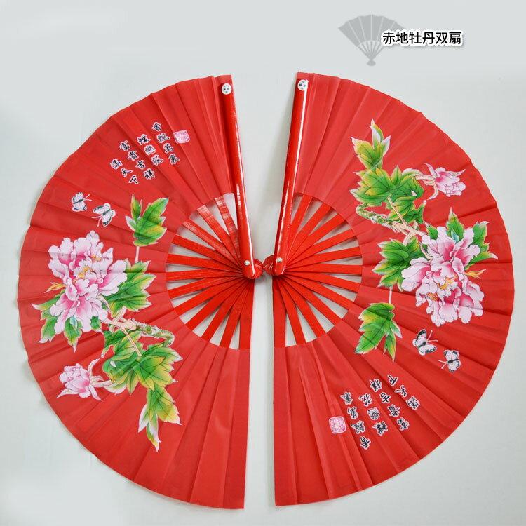 【太極拳】【扇】開いたら音が出る竹製で持ちやすい太極扇!赤地牡丹双扇 右扇 左扇