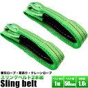 ベルトスリング【長さ1m】(幅50mm)【2本組セット販売】荷吊りベルト、牽引ロープ、荷揚げロープ、クレーンロープ、クレーンベルト