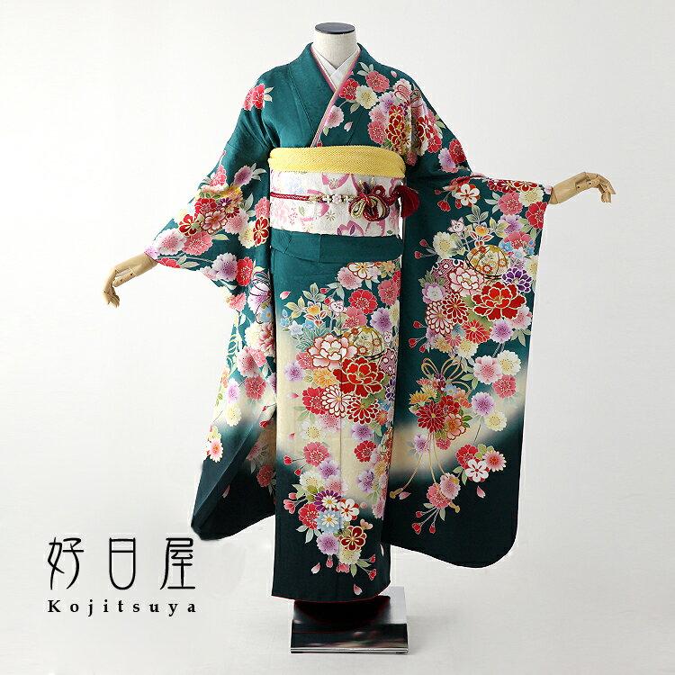 振袖 緑 着物 レンタル 身長152-167cm 成人式 gr-037-s 結婚式 正絹 フルセット