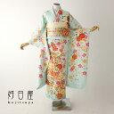 振袖 レンタル 結婚式 成人式 結納 緑 着物 セット 正絹 フルセット gr-031