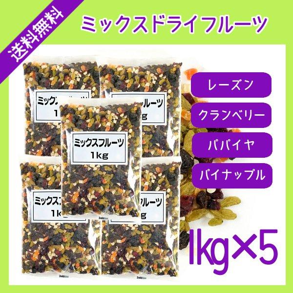 ミックスドライフルーツ 1kg×5袋 宅配便 送料無料 レーズン クランベリー パパイヤ パイナップル おやつ 製菓材料 製パン材料 鉄分 食物繊維 こわけや