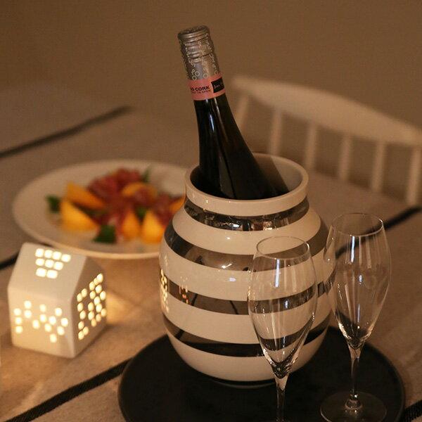 KOZLIFE冬のギフト!Kahler(ケーラー)オマジオ シルバーM(ワインクーラー)(フラワーベース) 全員にスパークリングワイン1本プレゼント!