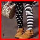 韓国子供服 女の子 GREEN TOMATO グリーントマト スター&ボーダーキッズストレッチレギンス100cm 110cm 120cm 130cm 140cm...