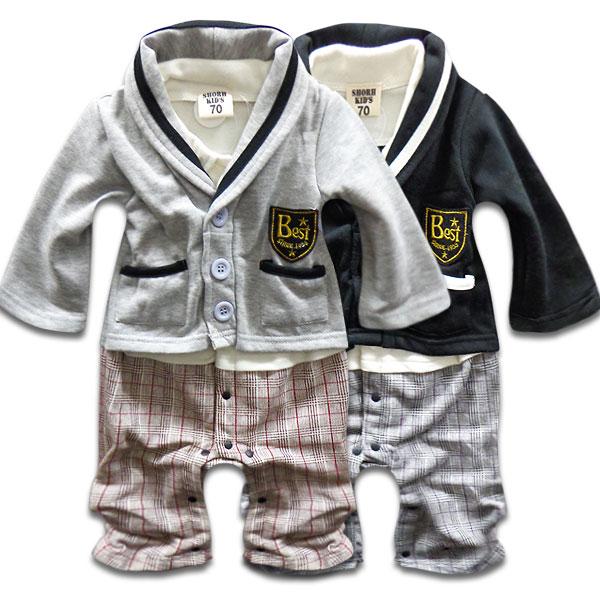韓国子供服長袖ロンパース綿100%カレッジカーディガン重ね着風ベビーカバーオールロンパース長袖カバー